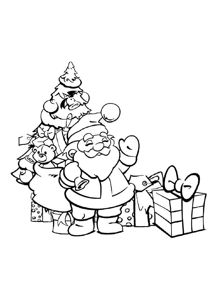 desenho de natal para colorir árvore papai noel presentes
