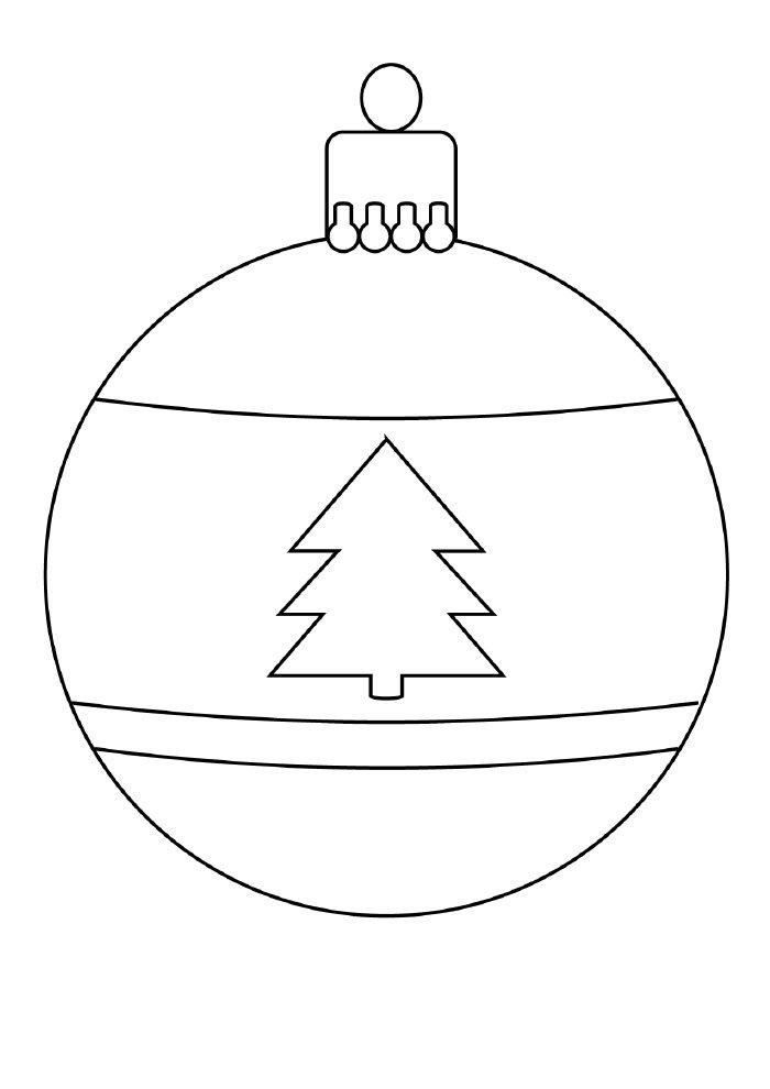 desenho de natal para colorir bola de natal com desenho de árvore