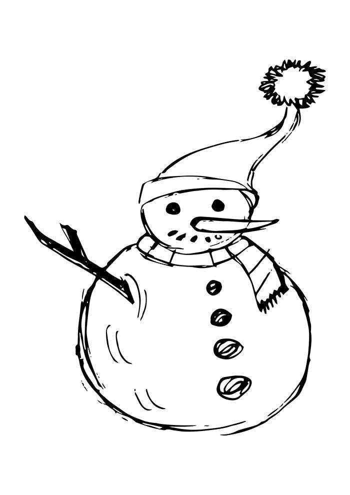 desenho de natal para colorir boneco de neve