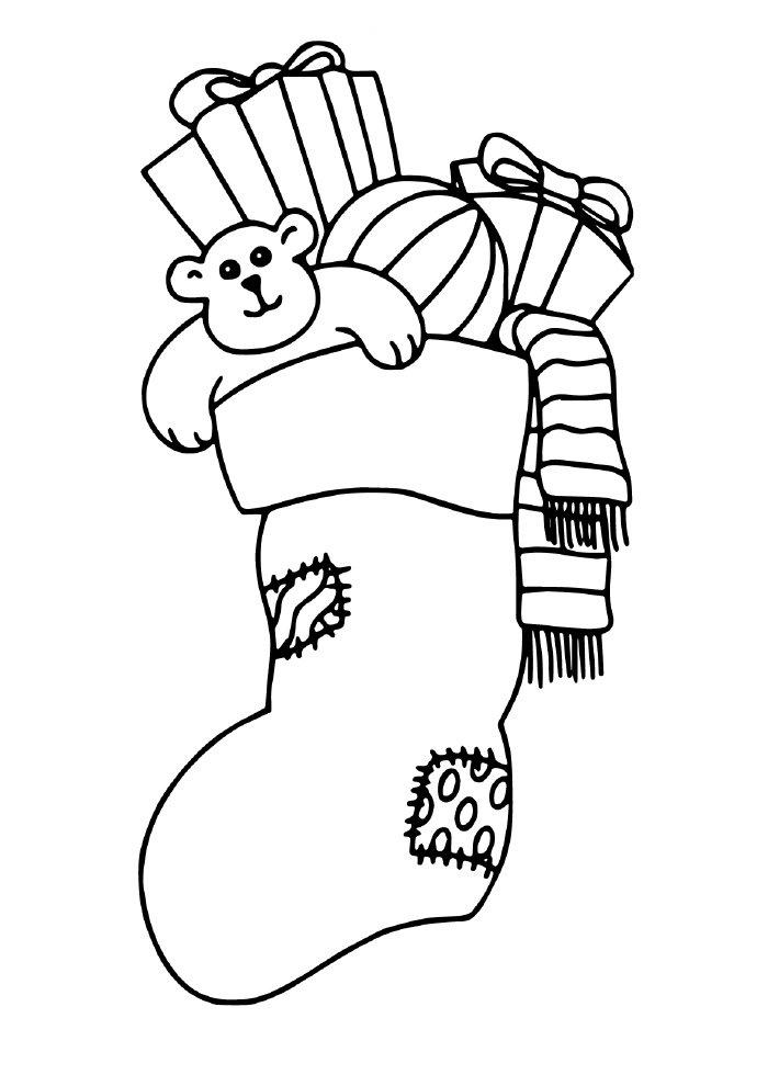 desenho de natal para colorir bota