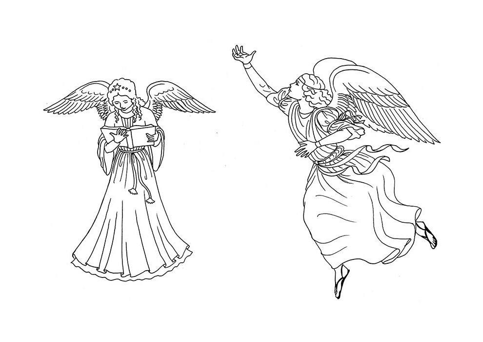 desenho de natal para colorir casal de anjos