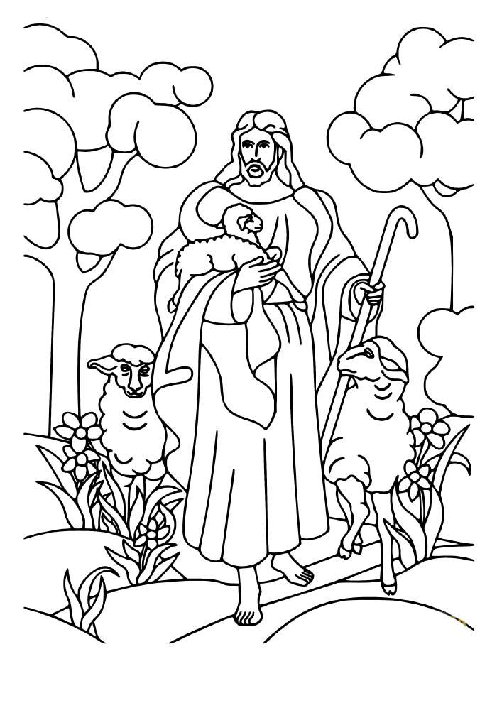 desenho de natal para colorir jesus com as ovelhas