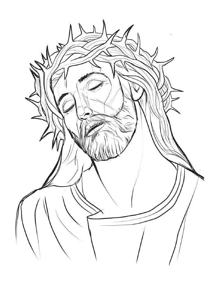 desenho de natal para colorir jesus coroa de espinhos