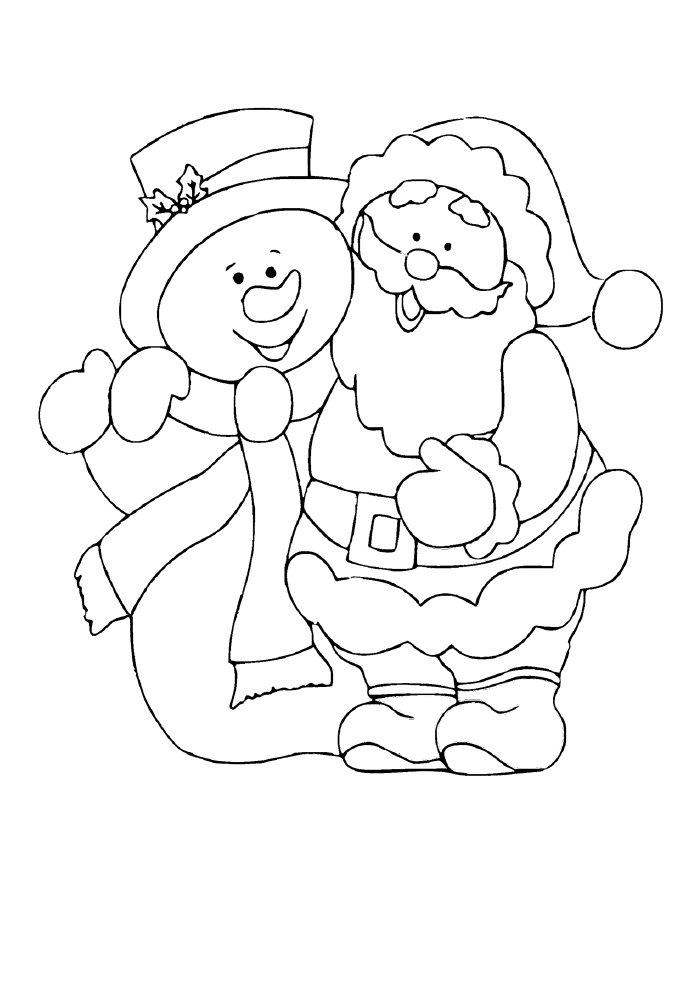 desenho de natal para colorir papai noel e boneco de neve