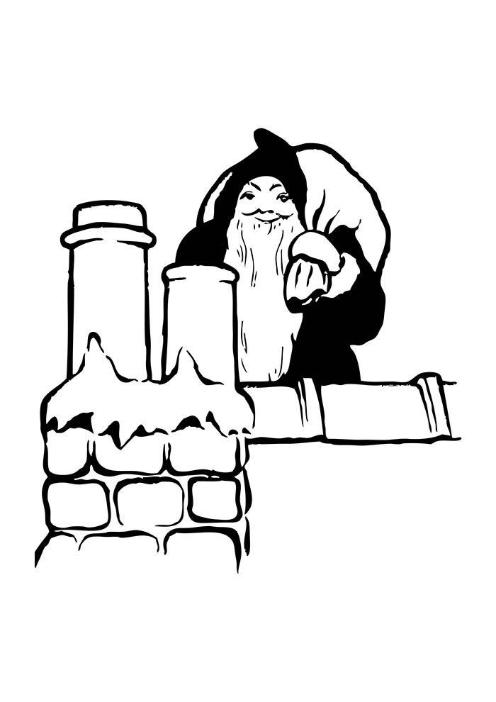 desenho de natal para colorir papai noel na chamine