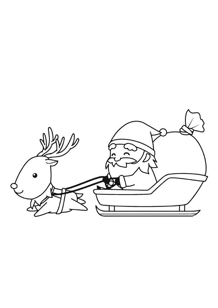 desenho de natal para colorir papai noel puxando trenó