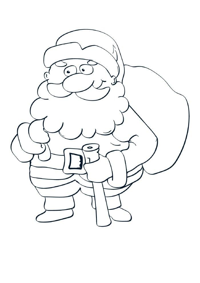 desenho de natal para colorir papai noel simpático