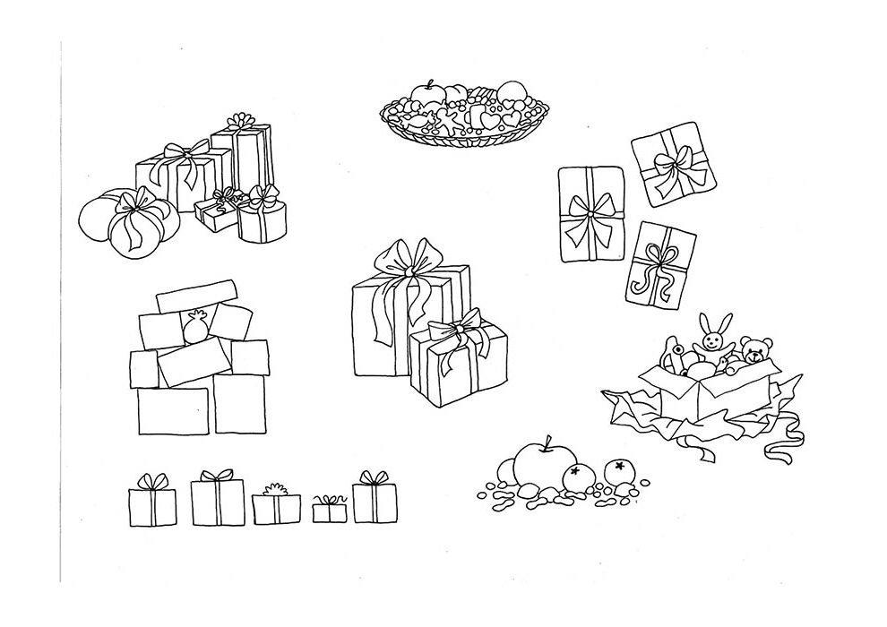 desenho de natal para colorir presentes