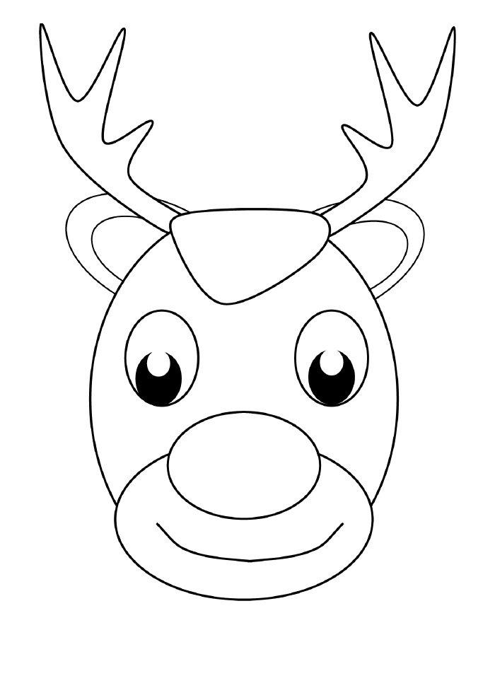 desenho de natal para colorir rena sorridente