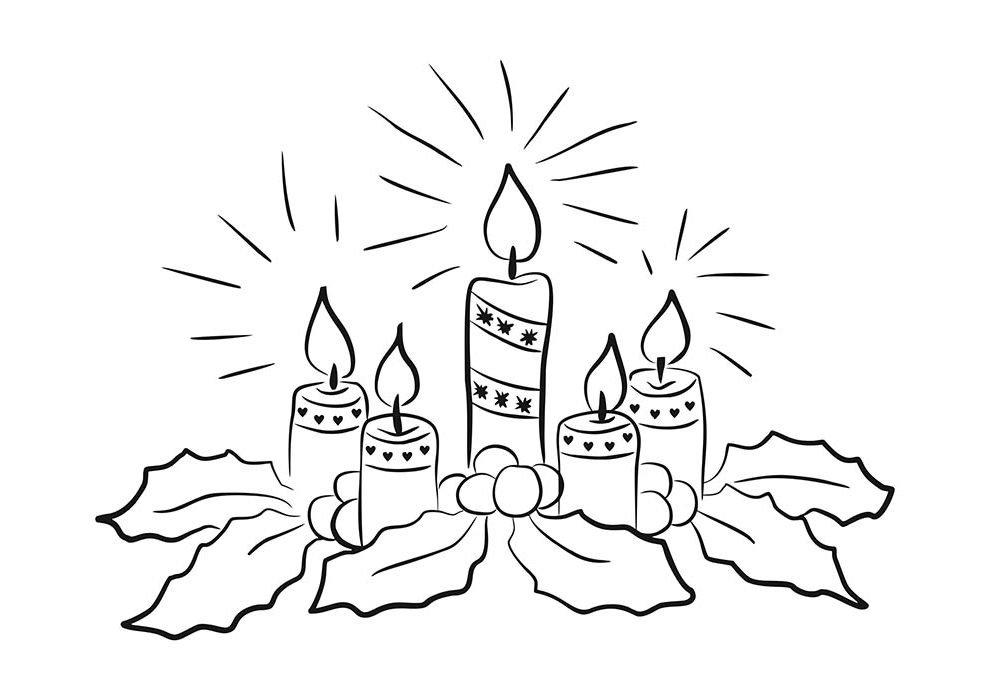desenho de natal para colorir velas natalinas