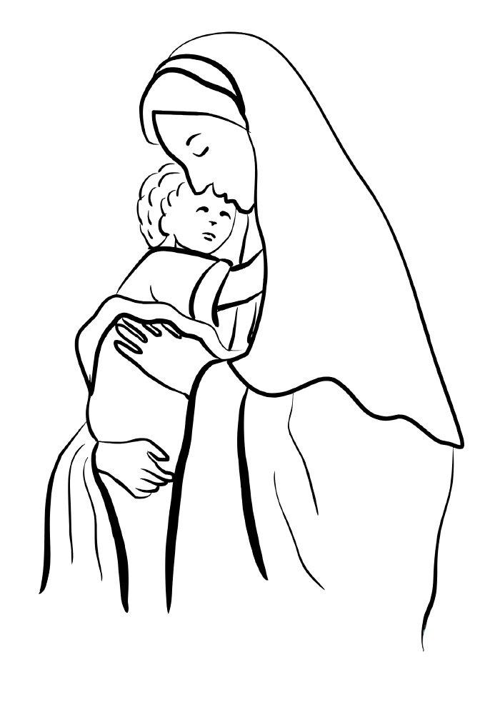 desenho de natal para colorir virgem maria com jesus
