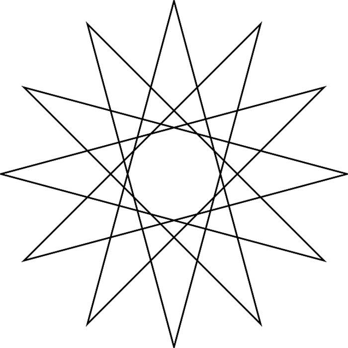 Desenho estrela 12 pontas para colorir