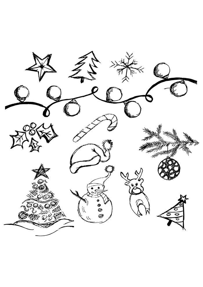 desenhos de natal para colorir árvore estrela enfeites