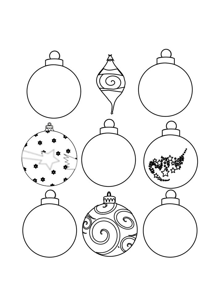 desenhos de natal para colorir bolas