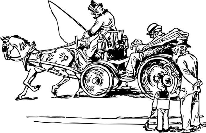 Desenhos para colorir cavalo com carroça