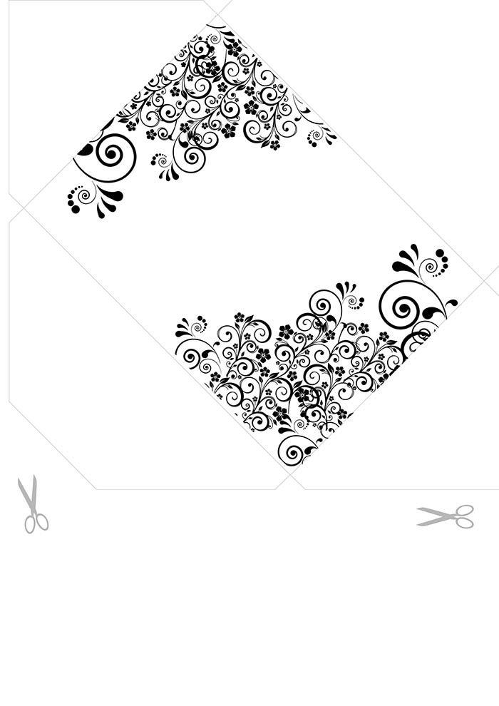 Envelope branco e preto para imprimir