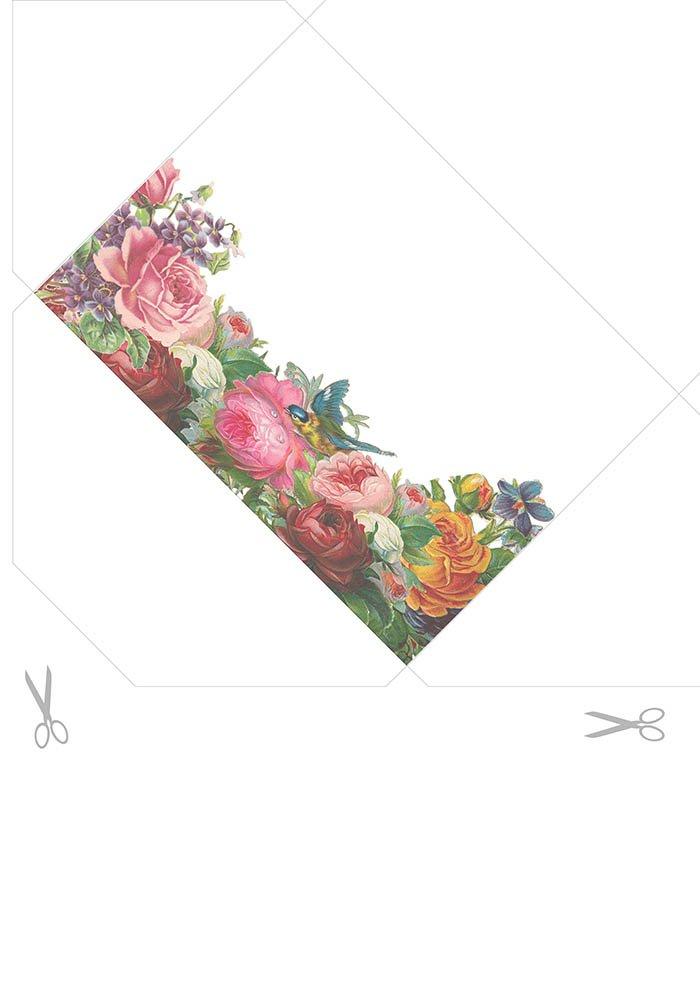 Envelope com flores para imprimir