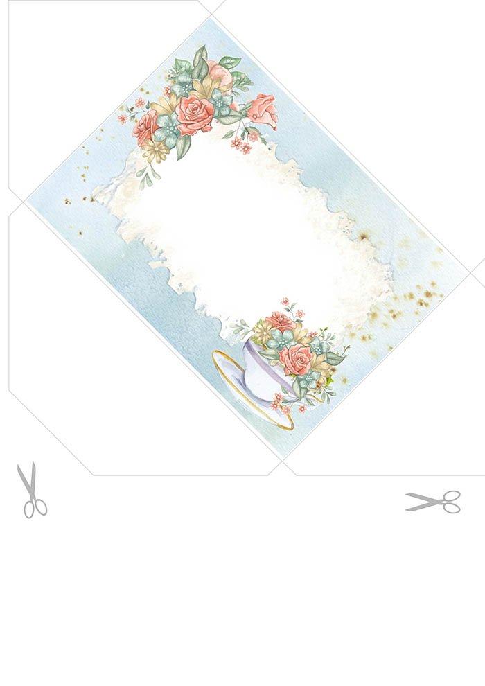Envelope de carta para imprimir com flores