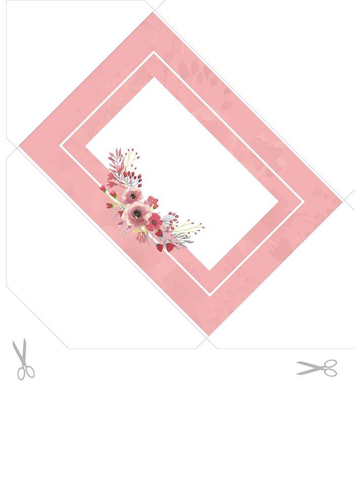 Envelope decorado flores rosa