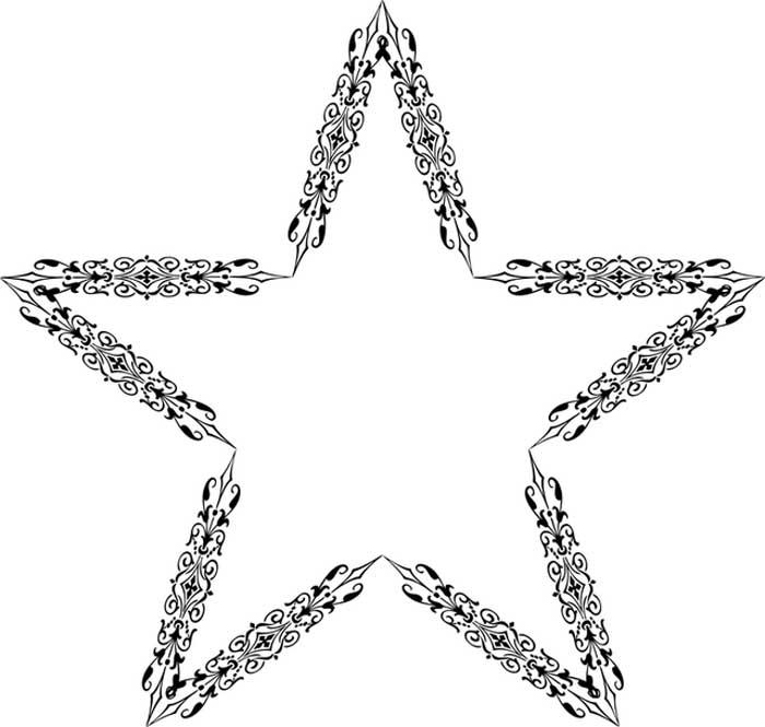 Estrela decorada com flores para colorir