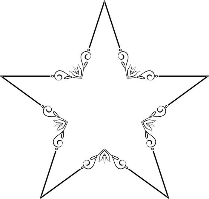 Estrela decorada para imprimir e colorir