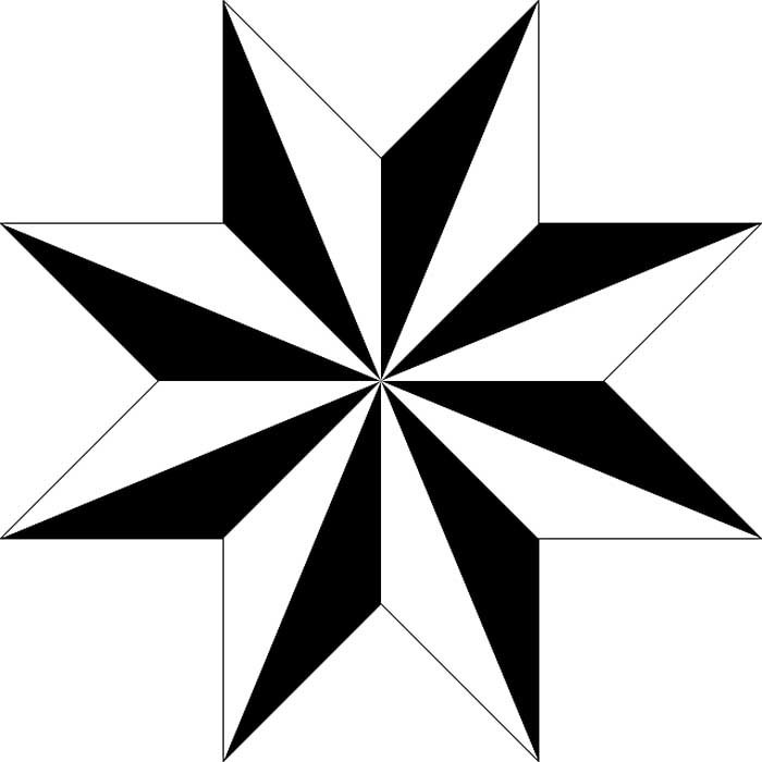Estrela dimensional 8 pontas para colorir