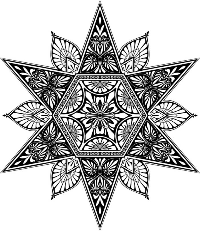 estrela mandala para colorir