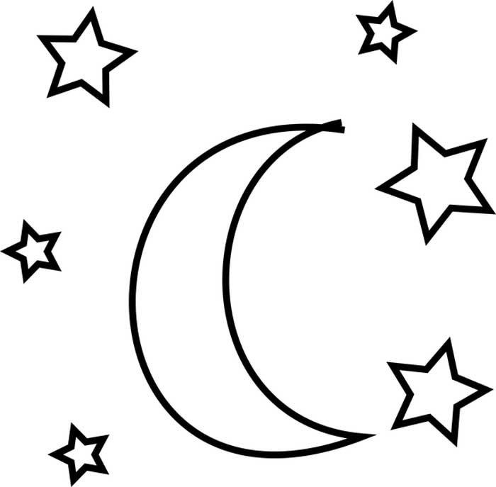 Estrelas e lua para colorir