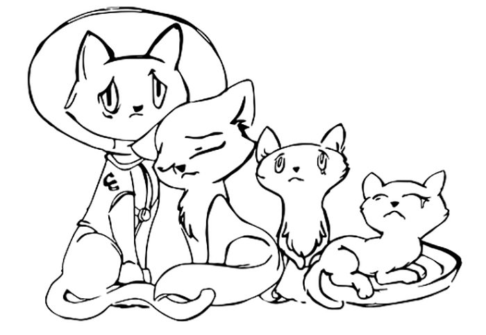 Familia de gatos para colorir