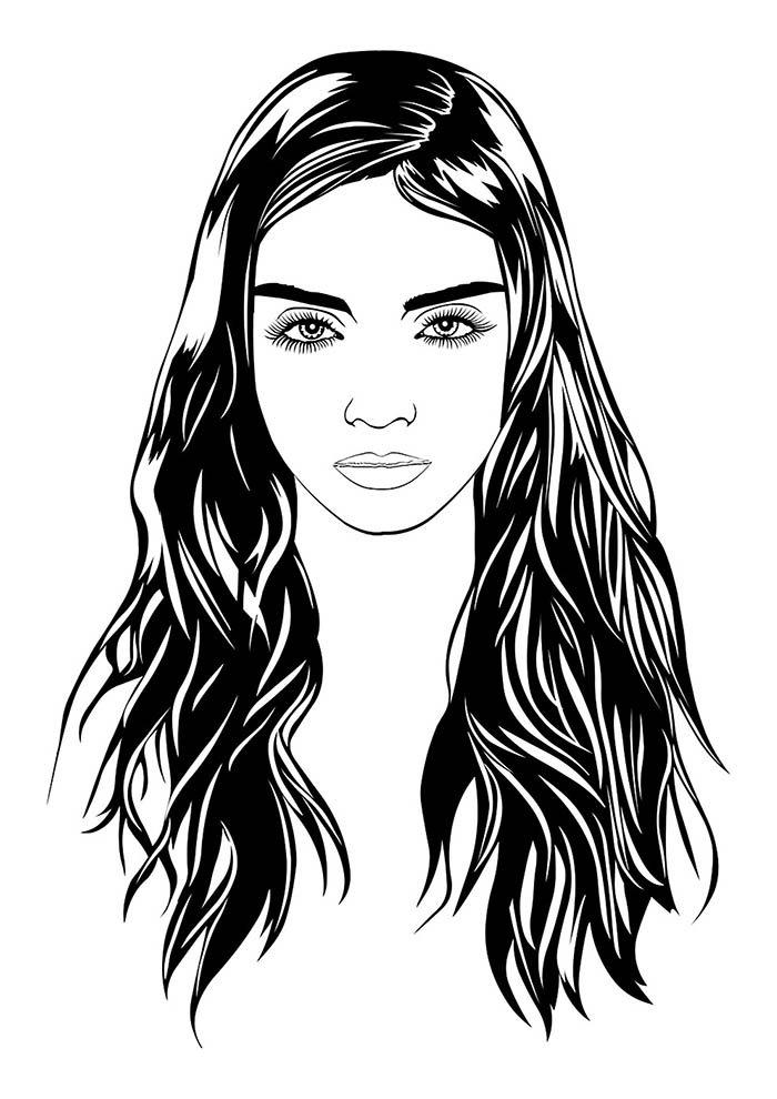 garota morena cabelo longo