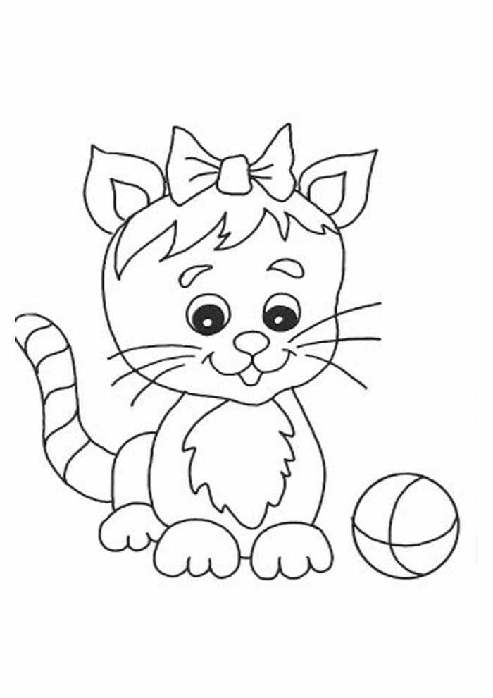 gatinha para colorir com bola