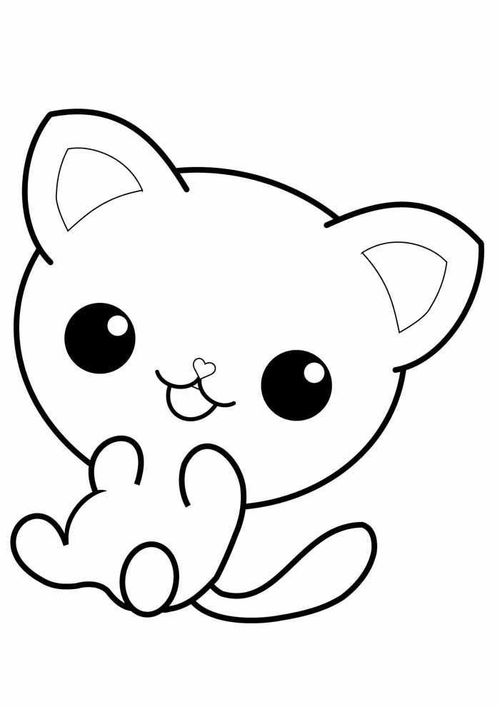 gatinho fofo para colorir