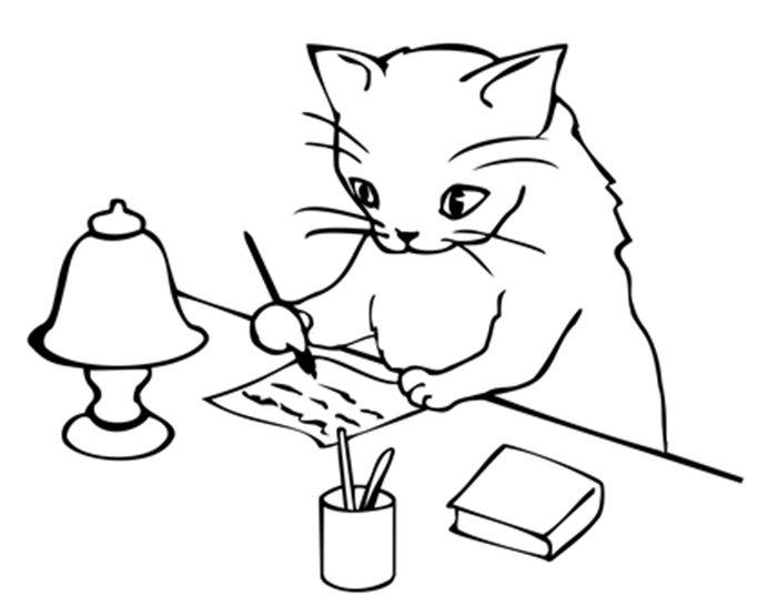 Gato com carta para colorir