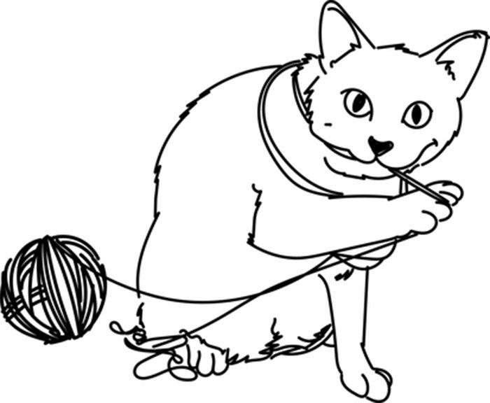 Gato com novelo de lã para colorir