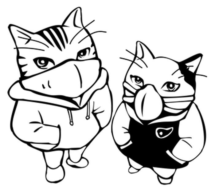 Gatos de moletom e máscara para colorir