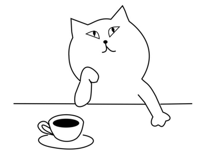 Gato e café para colorir