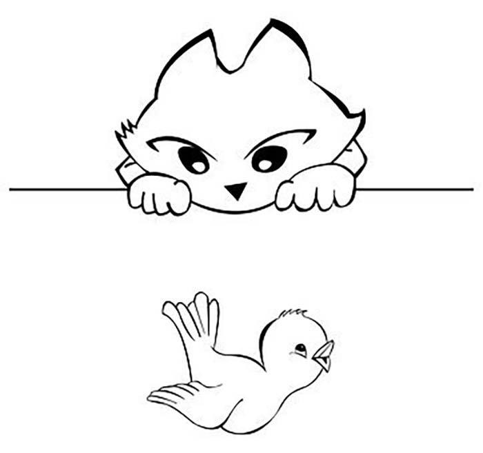 Gato e pássaro para colorir