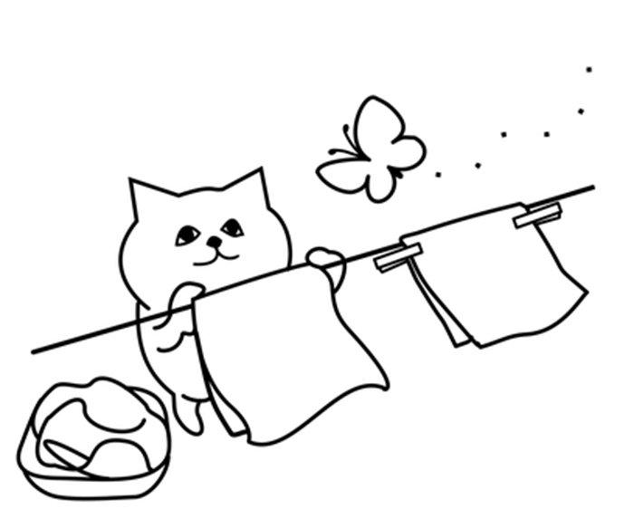 Gato lavando roupa para colorir