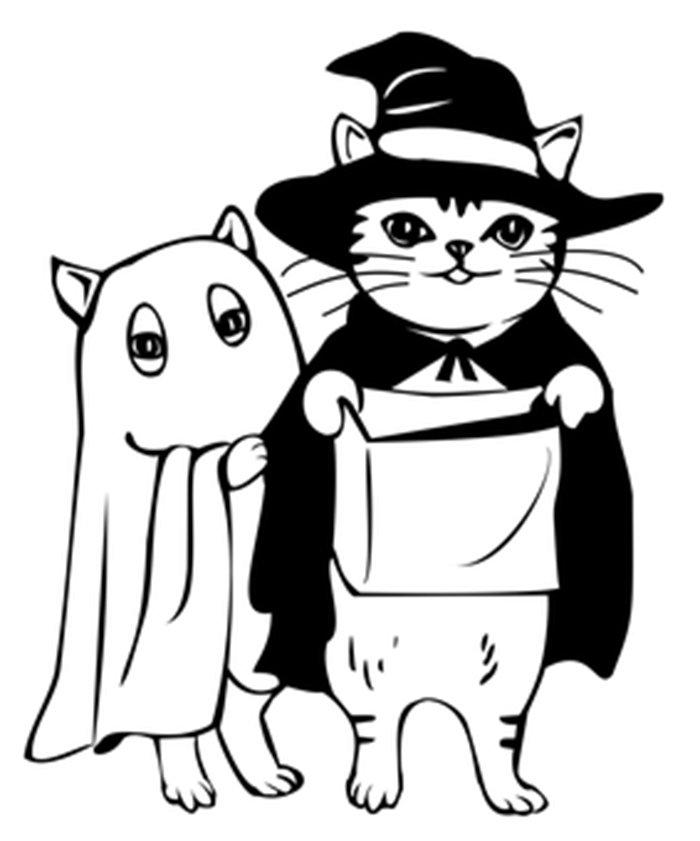 Gato no halloween para colorir
