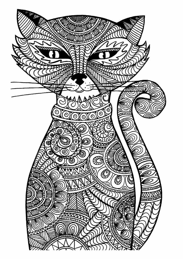 gato para colorir adultos