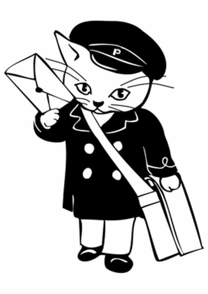 gato para colorir carteiro