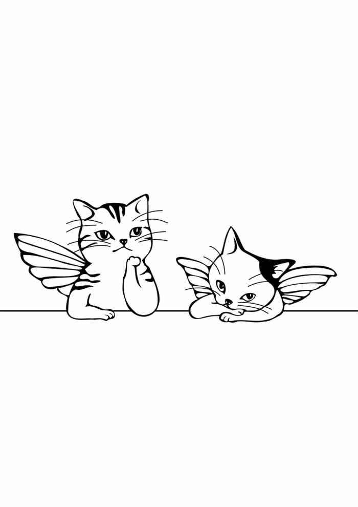 gato para colorir com asas