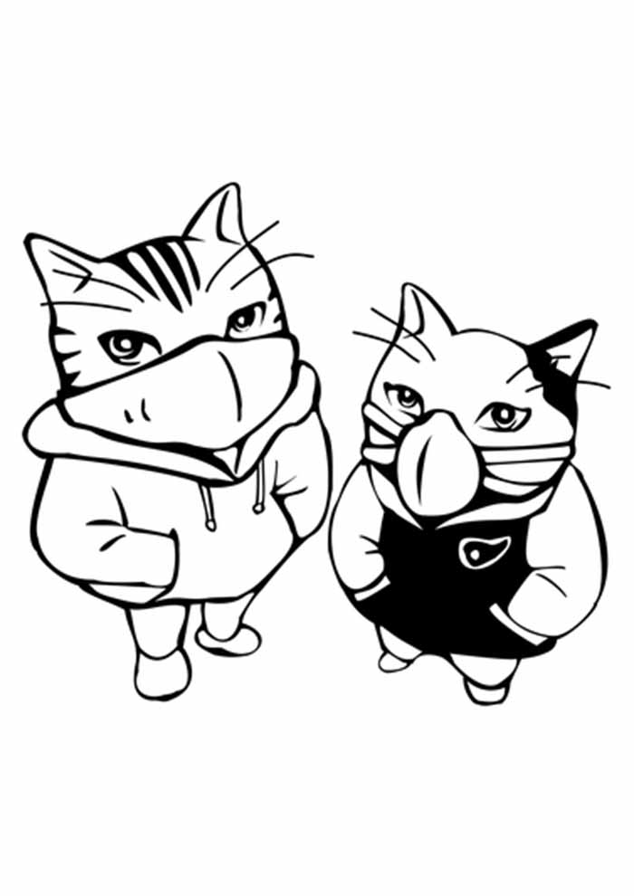 gato para colorir de moleton e máscara