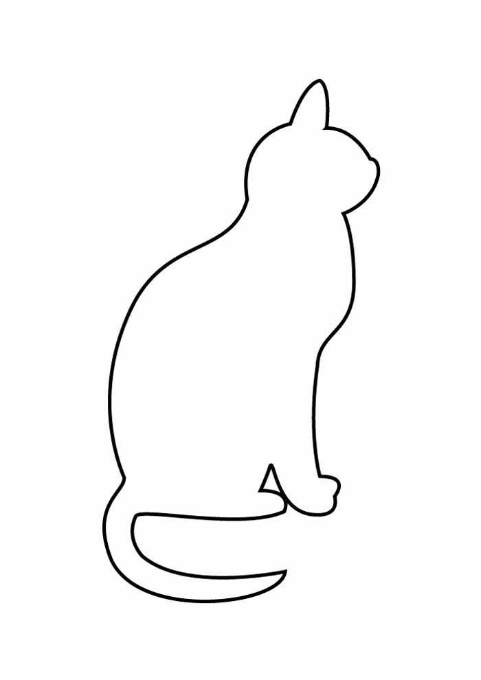 gato para colorir de perfil contorno