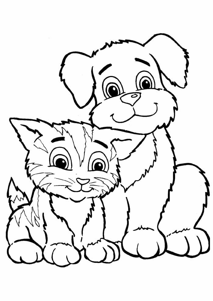 gato para colorir e cachorro 1
