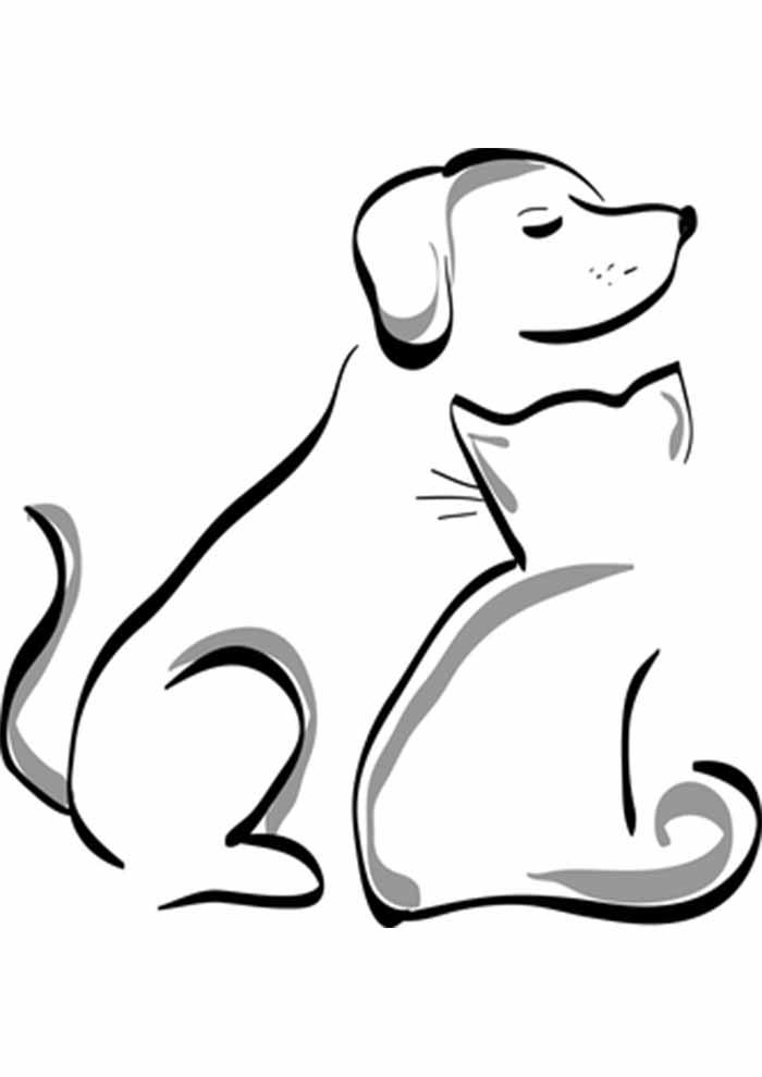 gato para colorir e cachorro