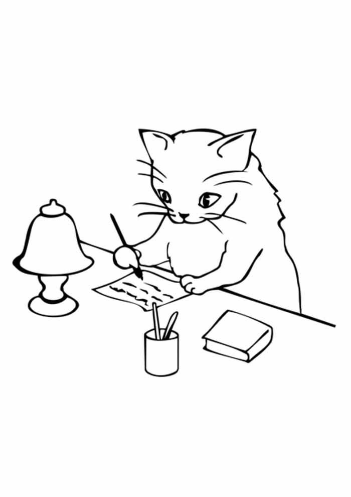 gato para colorir escrevendo carta