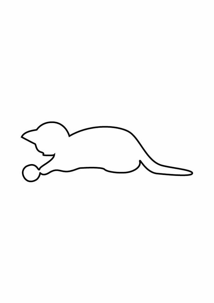 gato para colorir jogando bola
