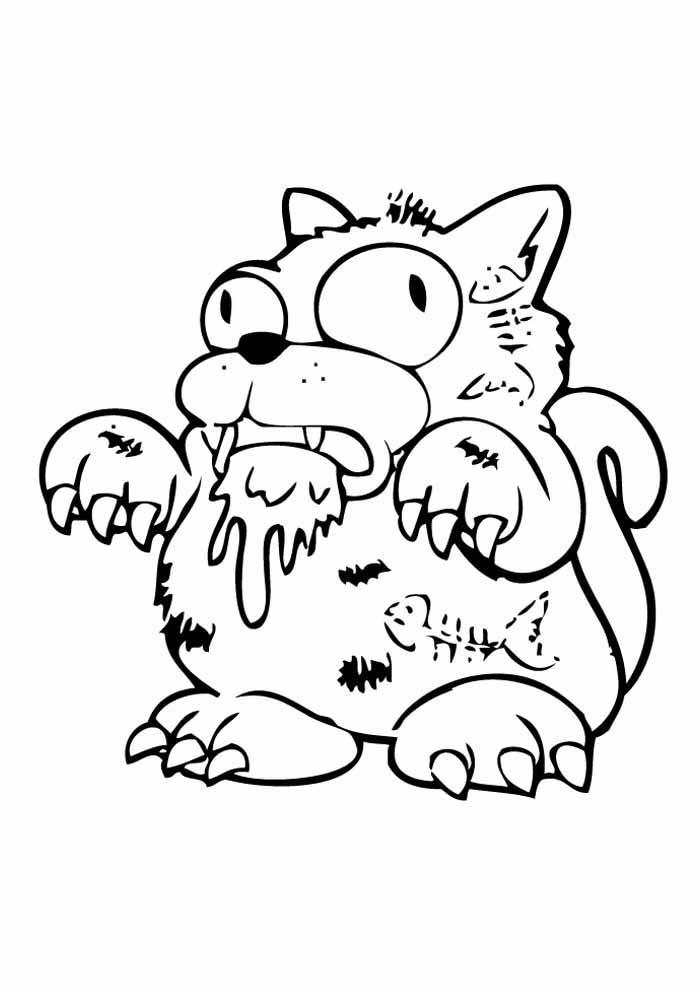gato para colorir monstrinho