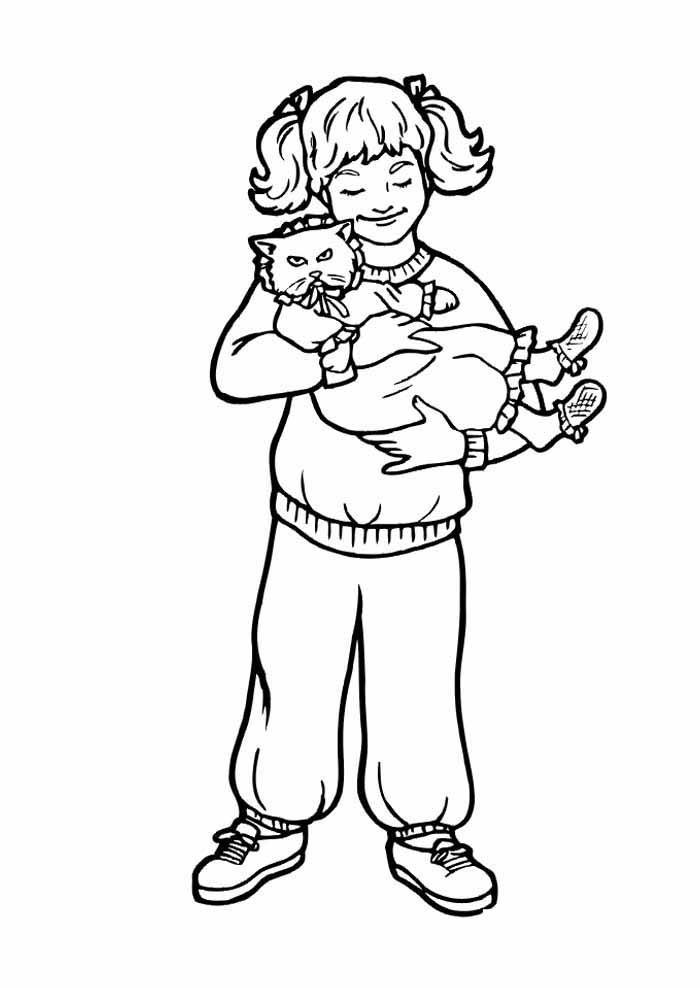 gato para colorir no colo menina